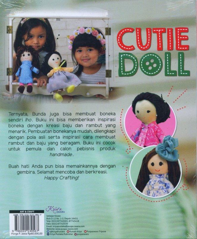 Cover Belakang Buku Cutie Doll 100% Handmade Dilengkapi Pola Boneka, Baju & Rambut