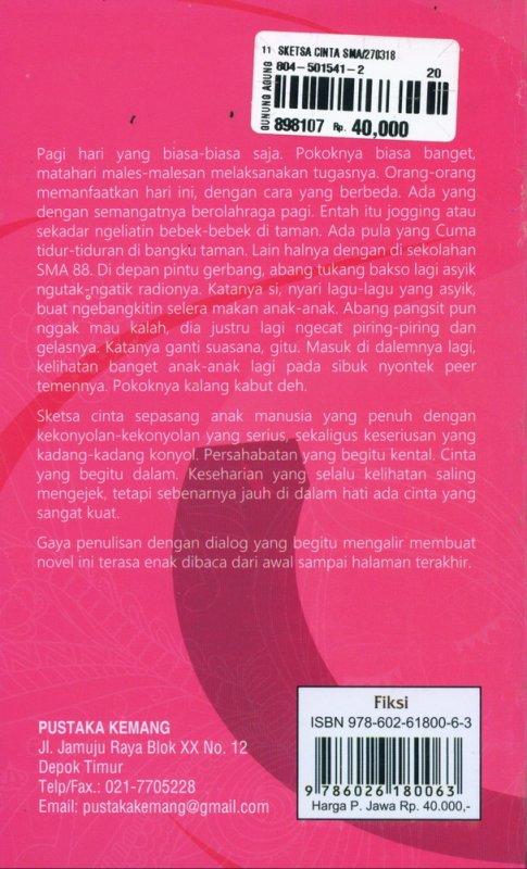 Cover Belakang Buku Sketsa Cinta SMA