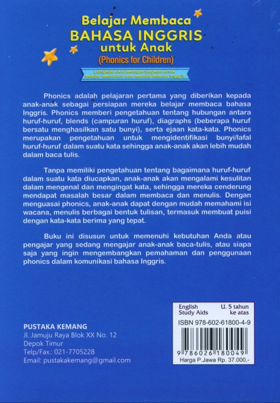 Cover Belakang Buku Belajar Membaca Bahasa Inggris Untuk Anak (Phonics for Children)