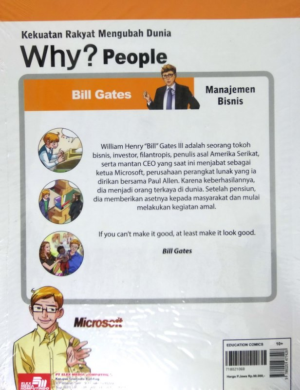 Cover Belakang Buku Why? People Bill Gates-sang pemilik microsoft