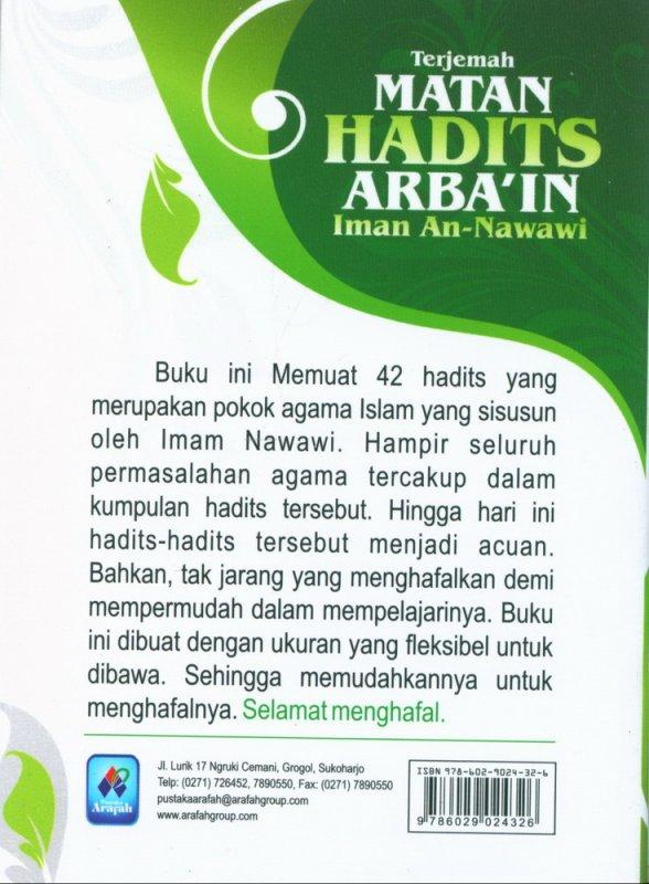 Cover Belakang Buku Terjemah MATAN HADITS ARBA'IN (buku saku)