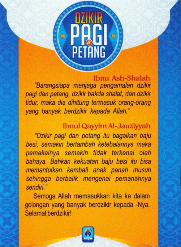 Cover Belakang Buku Dzikir Pagi & Petang (buku saku)