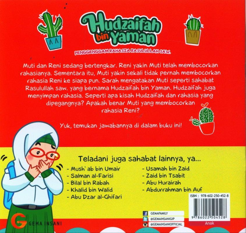 Cover Belakang Buku Seri Sahabat Rasulullah Saw. : Hudzaifah bin Yaman - Penggenggam Rahasia Rasulullah Saw. (Full Color)