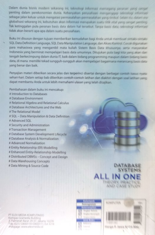 Cover Belakang Buku Database Systems All in One Theory, Practice, and Case Study