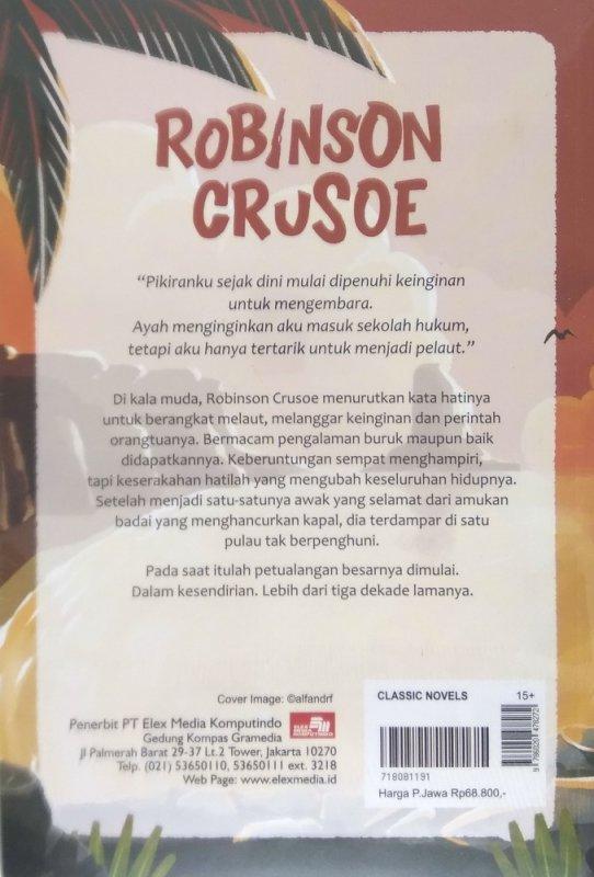 Cover Belakang Buku Robinson Crusoe (Cover Baru 2018)
