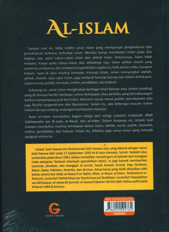 Cover Belakang Buku AL-ISLAM (Edisi baru, Hard Cover)