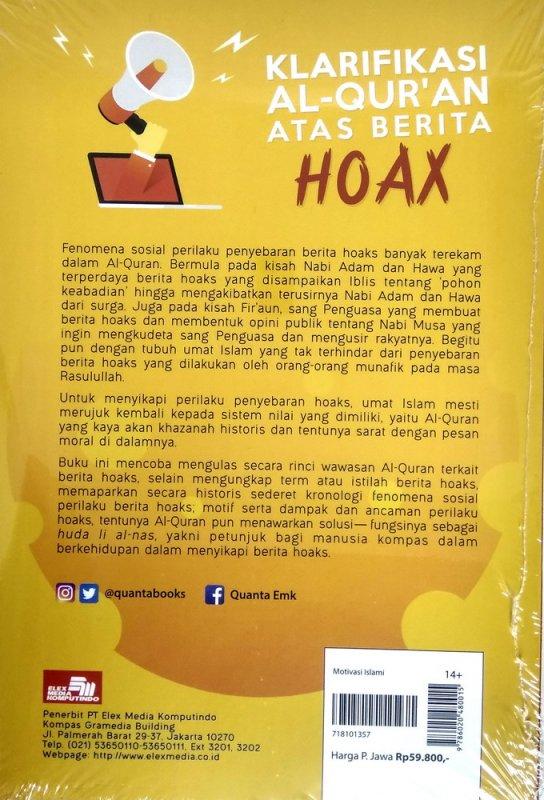 Cover Belakang Buku Klarifikasi Al-Quran Atas Berita Hoaks