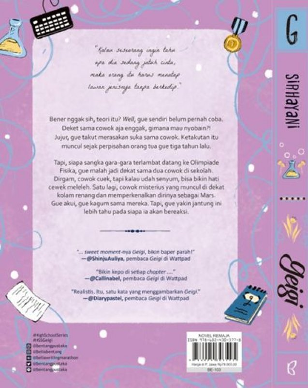 Cover Belakang Buku Geigi yang Mengejar Mimpi, Cinta dan Harapan