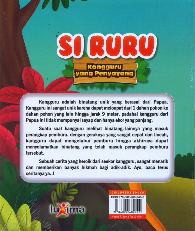 Cover Belakang Buku Si Ruru, Kangguru yang Penyayang
