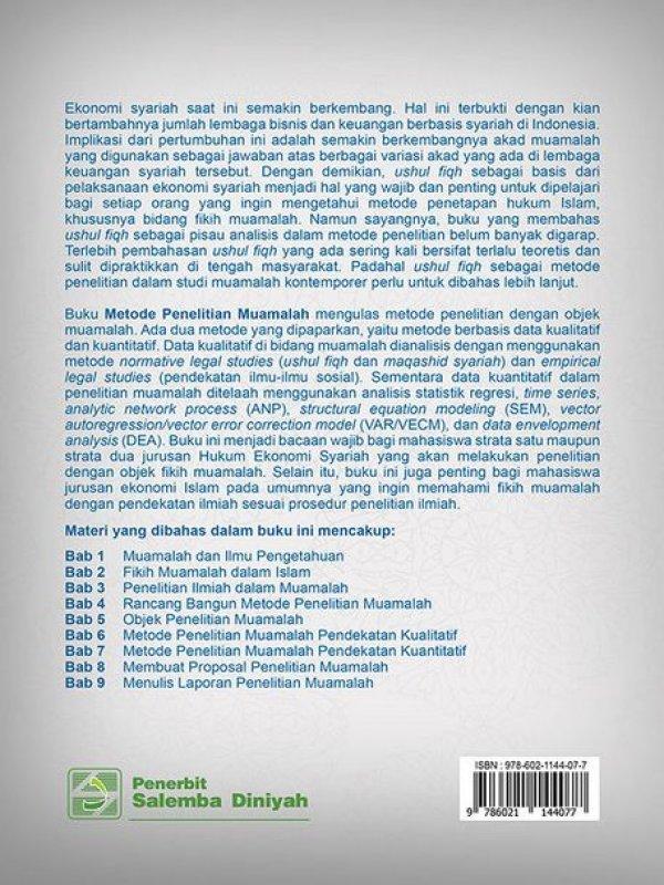 Cover Belakang Buku Metode Penelitian Muamalah