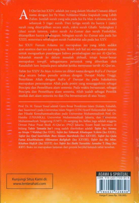 Cover Belakang Buku TAFSIR AL-QURAN JUZ XXIV FAMAN AZHLAMU RAFIUD DARAJAT (Hard Cover)