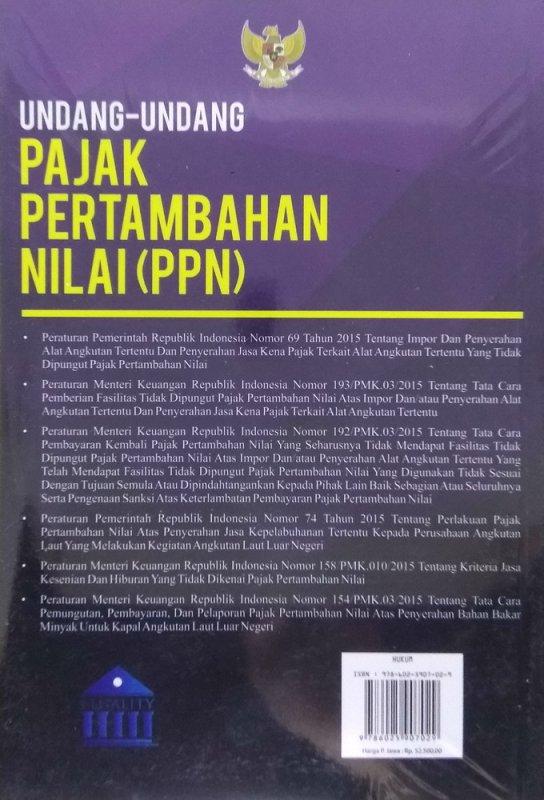 Cover Belakang Buku Undang-Undang Pajak Pertambahan Nilai (PPN)