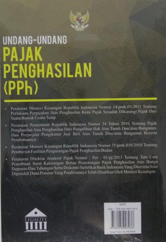 Cover Belakang Buku Undang-Undang Pajak Penghasilan (PPh)