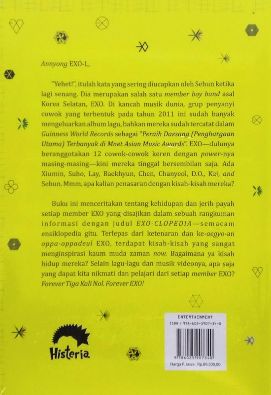 Cover Belakang Buku EXO-CLOPEDIA: Forever Tiga Kali Nol
