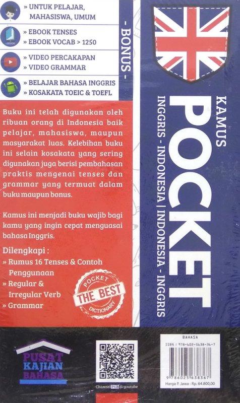 Cover Belakang Buku Kamus Pocket Inggris-Indonesia | Indonesia-Inggris