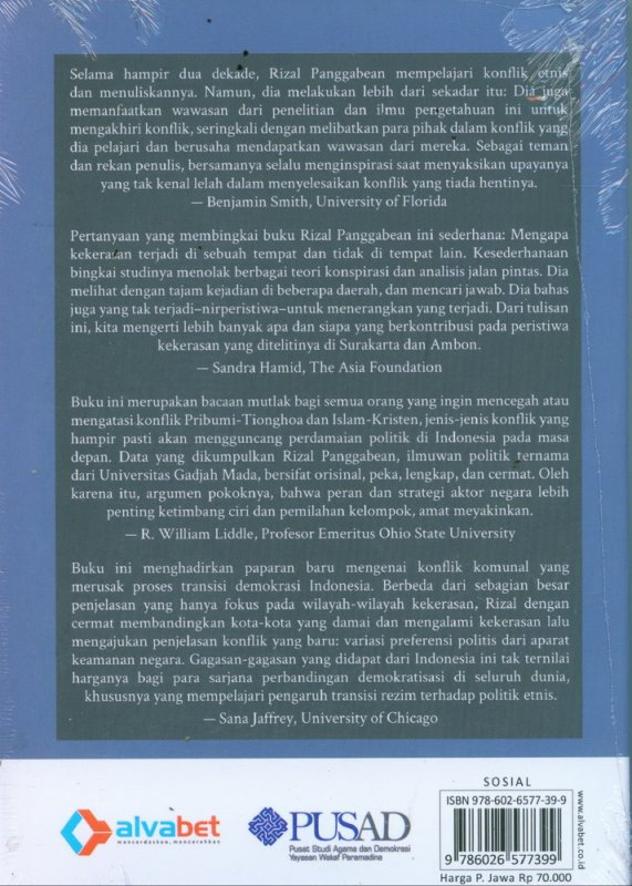 Cover Belakang Buku Konflik dan Perdamaian Etnis di Indonesia