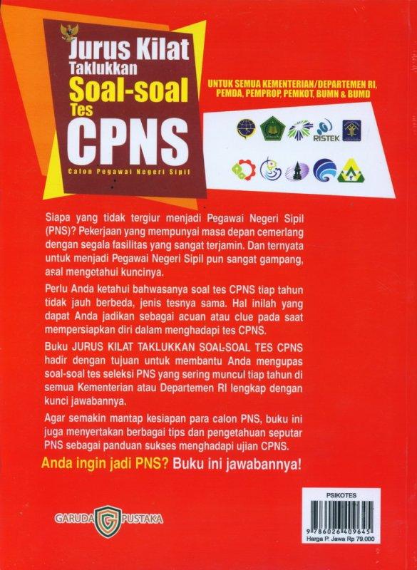 Cover Belakang Buku Jurus Kilat Taklukkan Soal-Soal Tes CPNS - Calong Pegawai Negeri Sipil