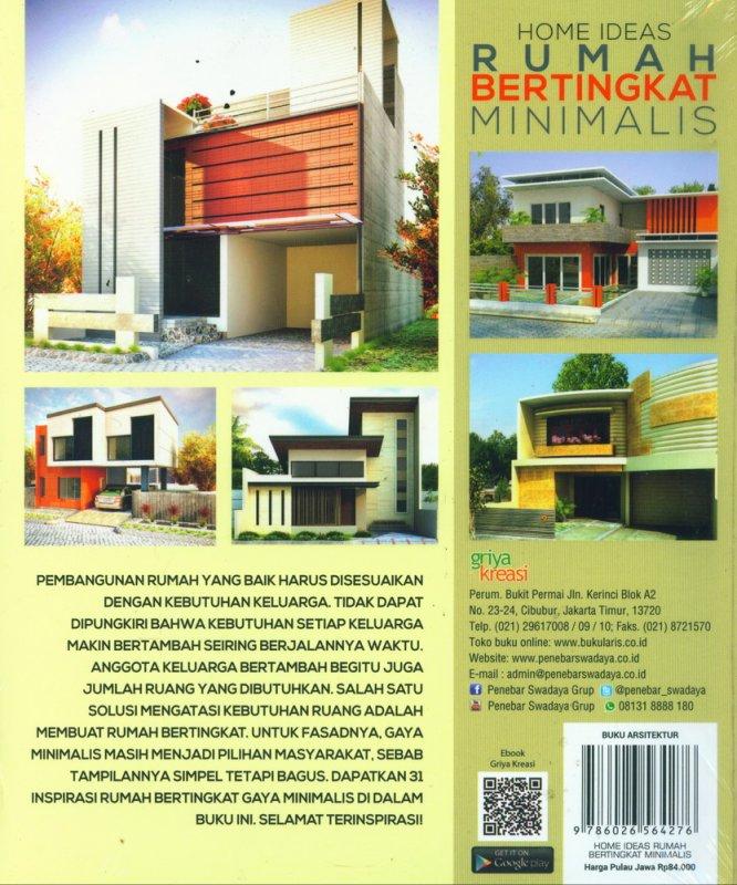 Cover Belakang Buku Home Ideas Rumah Bertingkat Minimalis Desain Simpel, Elegan, Masa Kini