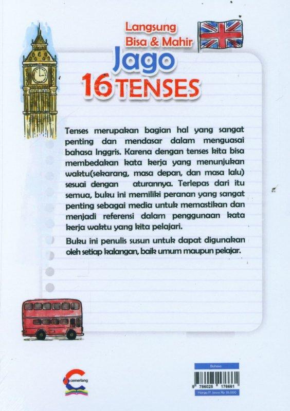 Cover Belakang Buku Langsung Bisa & Mahir Jago 16 Tenses & Vocabulary