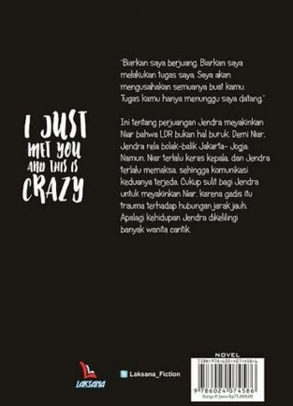 Cover Belakang Buku I Just Met You And This Is Crazy