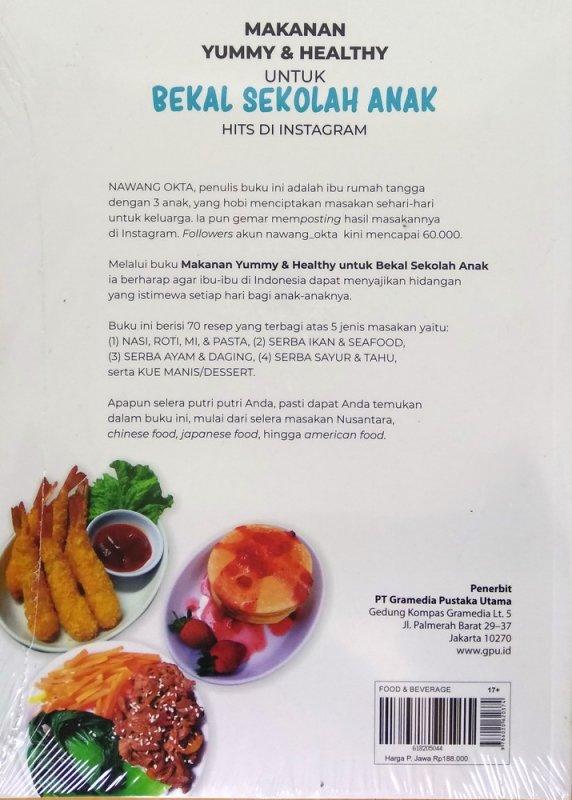 Cover Belakang Buku Makanan Yummy & Healty untuk Bekal Sekolah Anak Hits di Instagram