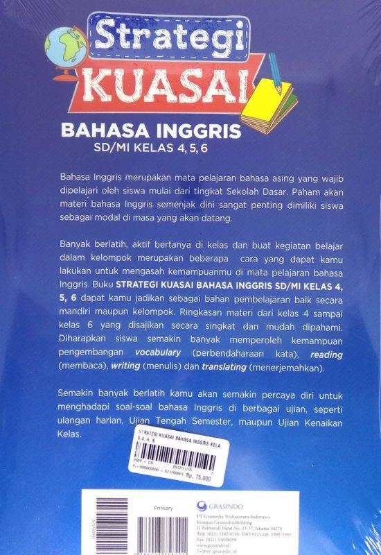 Cover Belakang Buku Strategi Kuasai Bahasa Inggris SD/MI Kelas 4, 5, 6