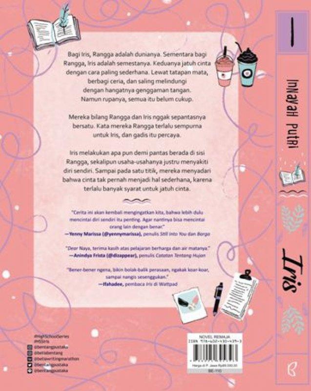 Cover Belakang Buku Iris: Syarat Jatuh Cinta [Bonus: Greeting Card, Edisi TTD, Notes, Sticker, BP Mini]
