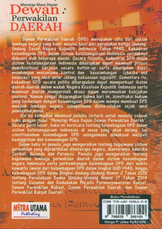 Cover Belakang Buku Menatap Masa Depan Dewan Perwakilan Daerah