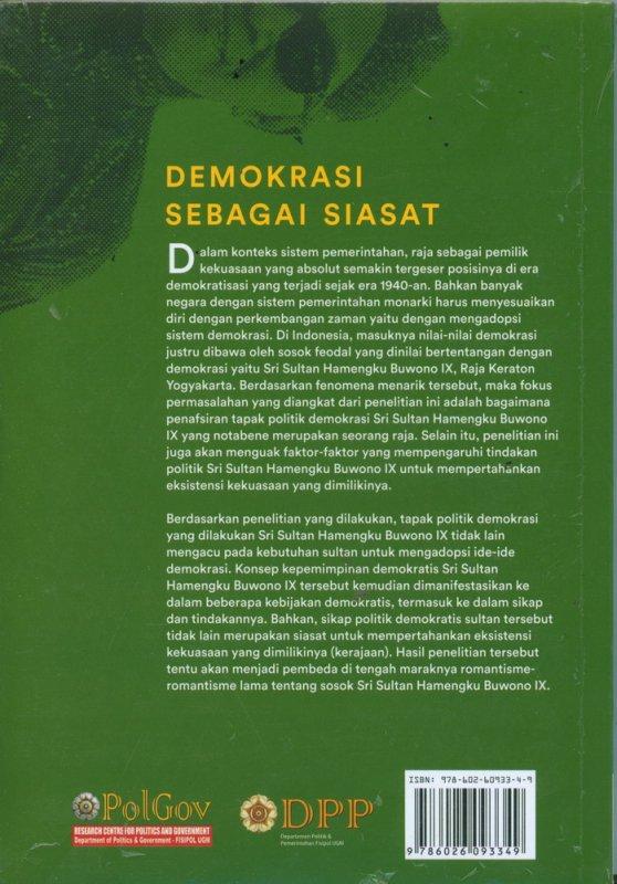 Cover Belakang Buku Demokrasi Sebagai Siasat