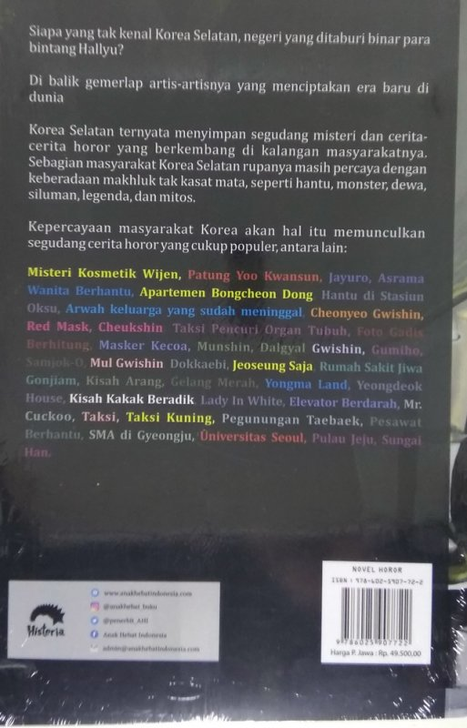 Cover Belakang Buku Kisah Hantu & Legenda Dari Korea