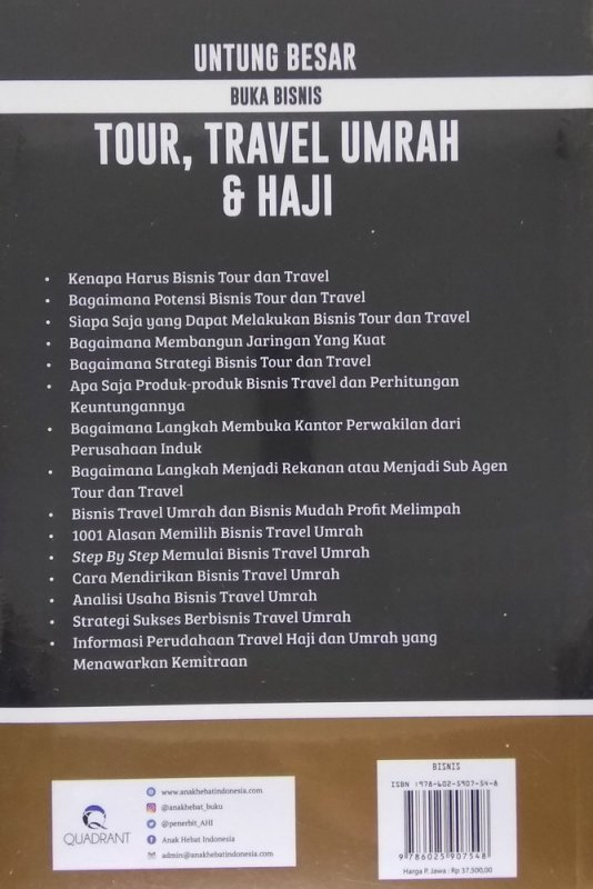 Cover Belakang Buku Untung Besar Buka Bisnis Tour, Travel Umrah & Haji