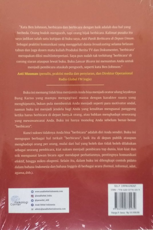 Cover Belakang Buku Lancar Berbicara: Kapan, Di Mana dan Dengan Siapa Saja
