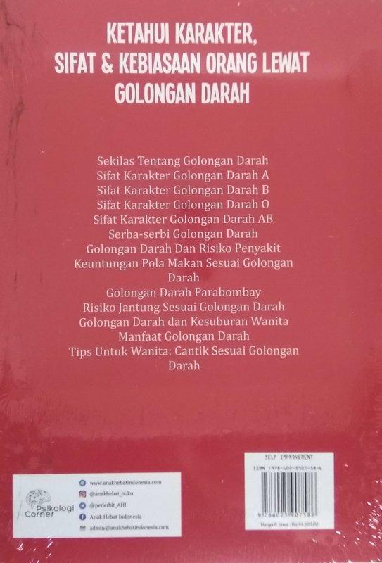 Cover Belakang Buku Ketahui Karakter, Sifat & Kebiasaan Orang Lewat Golongan Darah