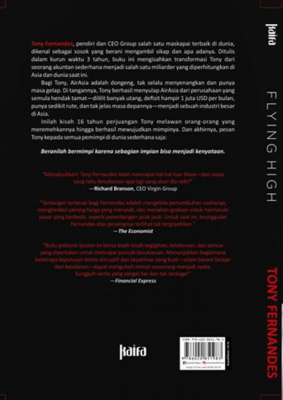 Cover Belakang Buku Flying High : Kisahku Membangun AirAsia oleh Tony Fernandes