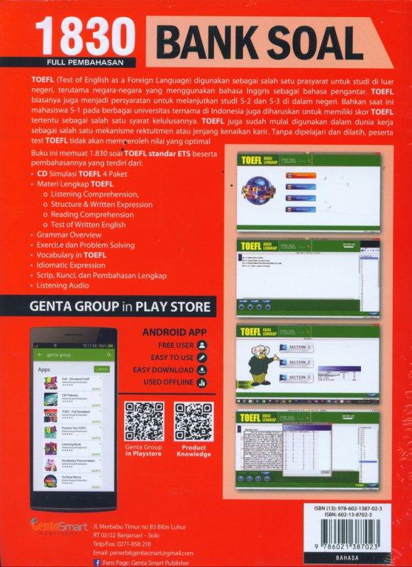 Cover Belakang Buku Bank Soal & Strategi TOEFL EDISI LENGKAP 1830 SOAL + CD