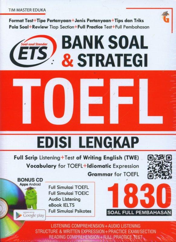Cover Buku Bank Soal & Strategi TOEFL EDISI LENGKAP 1830 SOAL + CD