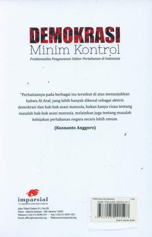 Cover Belakang Buku Demokrasi Minim Kontrol