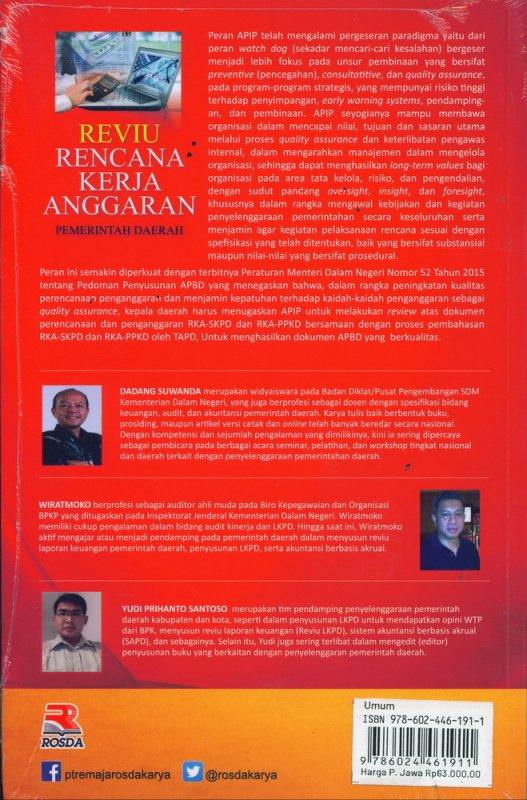 Cover Belakang Buku Reviu Rencana Kerja Anggaran Pemerintah Daerah