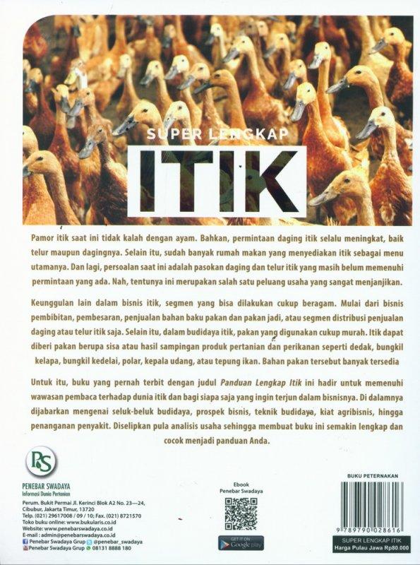 Cover Belakang Buku Super Lengkap ITIK: Panduan Beternak & Berbisnis Itik dari Hulu hingga Hilir