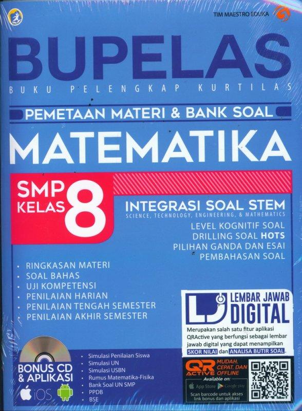 Cover Buku BUPELAS MATEMATIKA SMP KELAS 8 Pemetaan Materi & Bank Soal