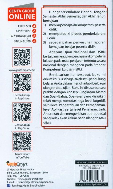 Cover Belakang Buku Pocket Tetralogi SMP/MTs Kelas 7,8, & 9
