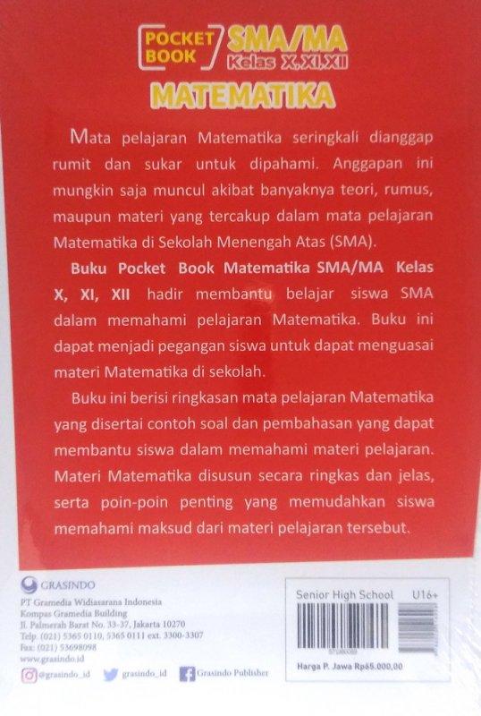Cover Belakang Buku Pocket Book SMA / MA Matematika