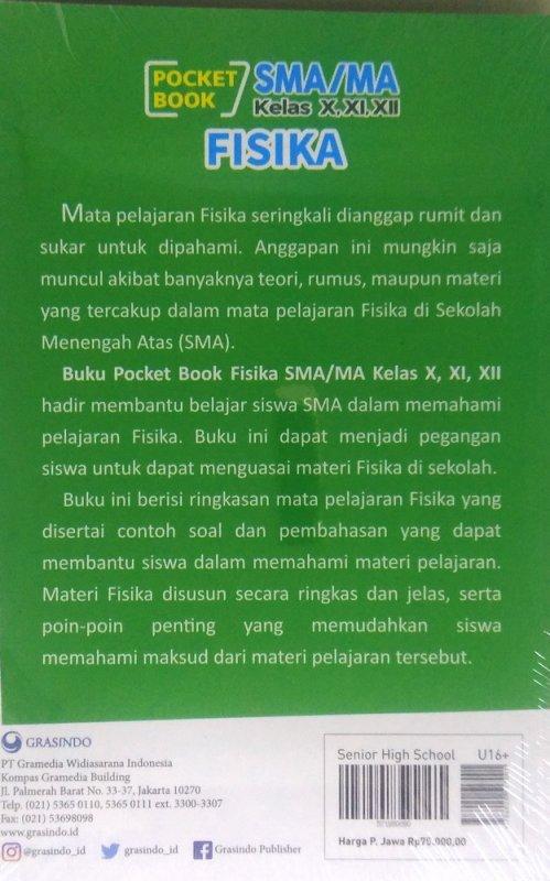 Cover Belakang Buku Pocket Book SMA / MA Fisika