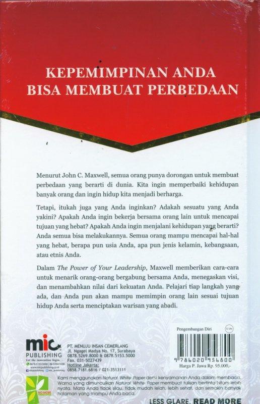 Cover Belakang Buku The Power of Your Leadership (Hard Cover)