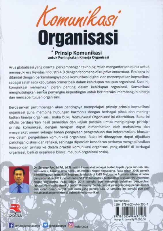 Cover Belakang Buku Komunikasi Organisasi: Prinsip Komunikasi untuk Peningkatan Kinerja Organisasi