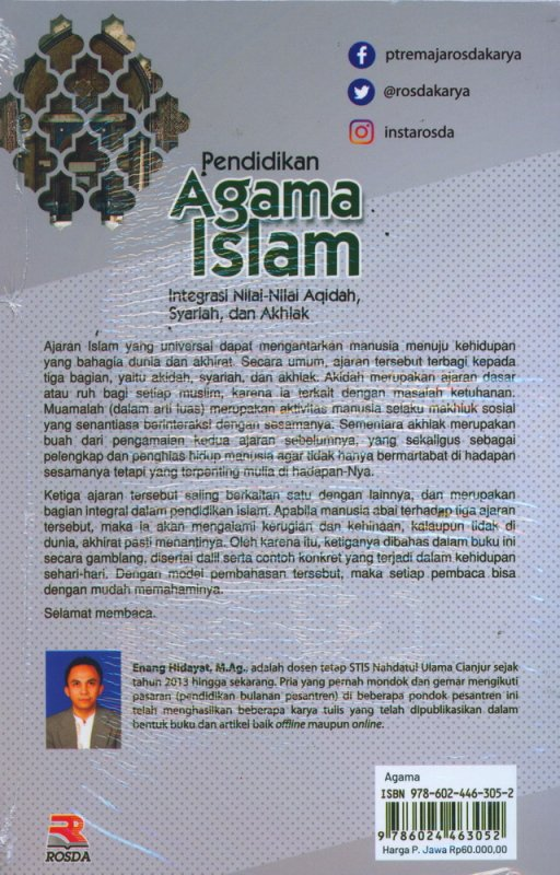 Cover Belakang Buku Pendidikan Agama Islam: Integrasi Nilai-Nilai Aqidah, Syariah, dan Akhlak