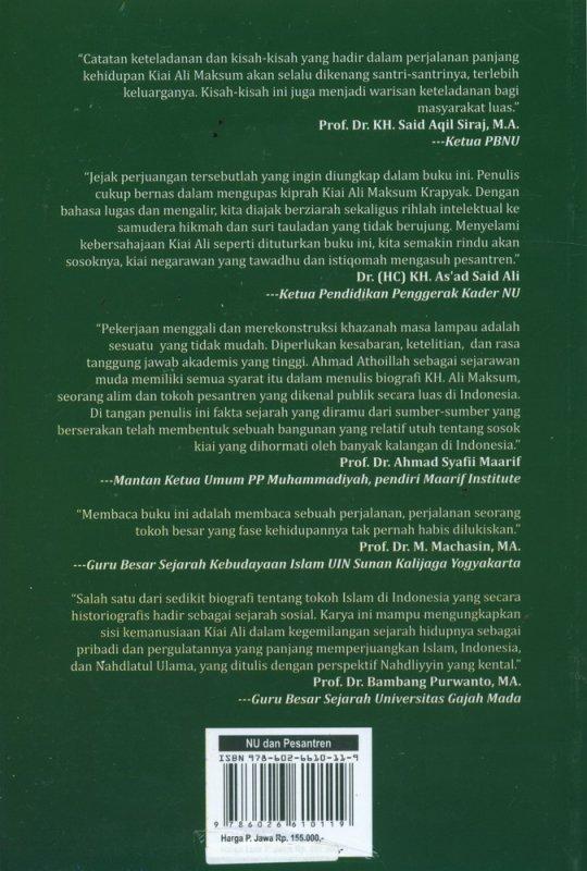 Cover Belakang Buku KH. ALi Maksum Ulama, Pesantren, dan NU