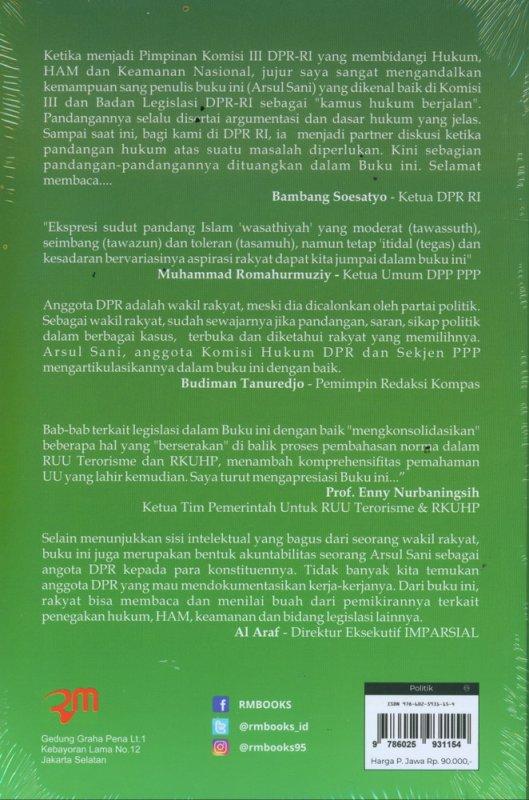 Cover Belakang Buku Catatan Dari Senayan Menuju Konvergensi Hukum, HAM, dan Keamanan Nasional
