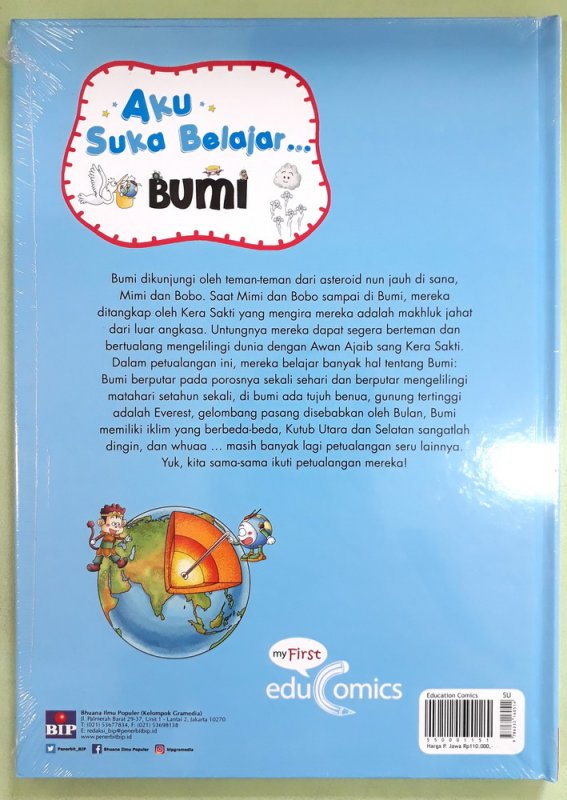 Cover Belakang Buku Seri Aku Suka Belajar : Bumi (Hard Cover)