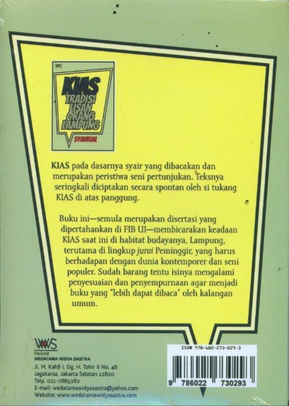 Cover Belakang Buku KIAS Tradisi Lisan Orang Lampung